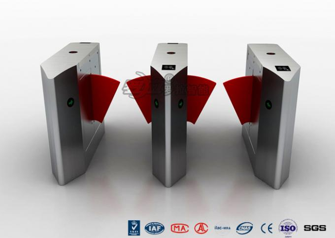 Electric 316 SS Security Flap Barrier Gate Turnstile Gate With IR Sensor 13.56mhz Card Reader