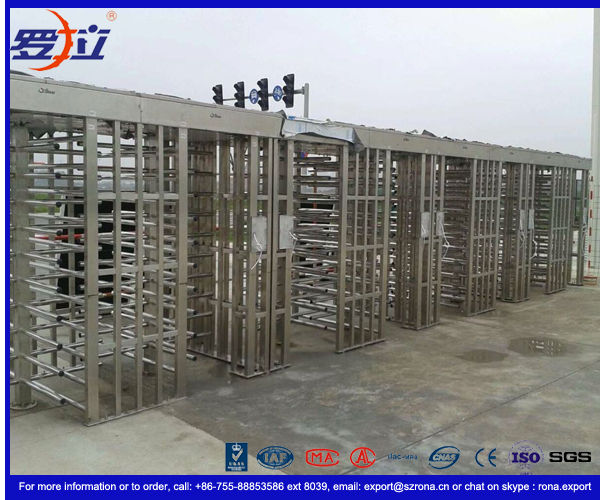 304 Stainless Steel Turnstile Full Height Brushed Surface Treatment With Double Lane
