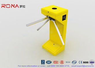 Yellow Vertical Tripod Turnstile Gate Entrance 500mm Stretching Out Arm Length